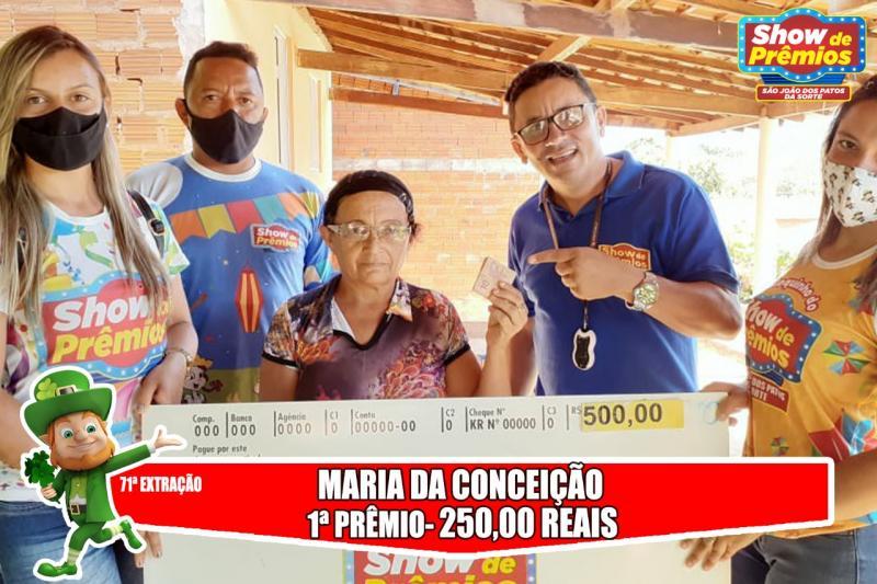 Ganhadores da 71° extração do show de prêmios São João dos Patos da sorte