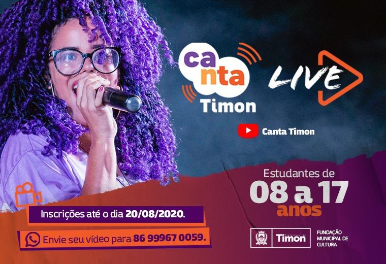Abertas inscrições para o Canta Timon 2020 que terá apresentações on-line