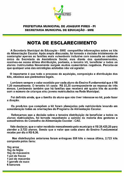 Joaquim Pires publica nota de esclarecimento sobre os Kits de Alimentação