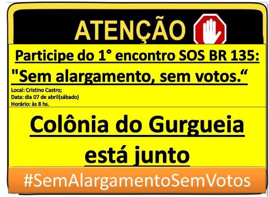 Movimento SOS BR 135 fará uma grande reunião em Cristino Castro-PI, no dia 07 de abril de 2018