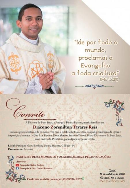 Diácono Zorenilton Tavares será ordenado sacerdote na Paróquia de Gilbués