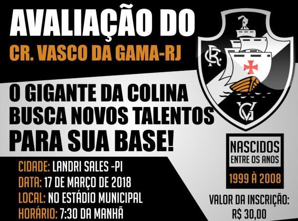Estão abertas as inscrições para a peneira do Vasco da Gama em Landri Sales