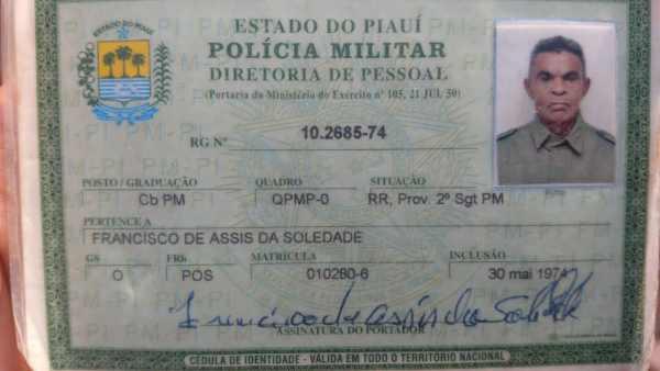 Francisco de Assis Soledade tinha 68 anos e era aposentado da PM-PI