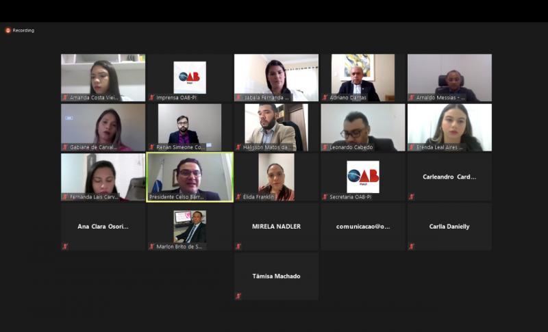 OAB-PI realiza Solenidade Virtual de Novos Advogados(as) de Floriano e Oeiras