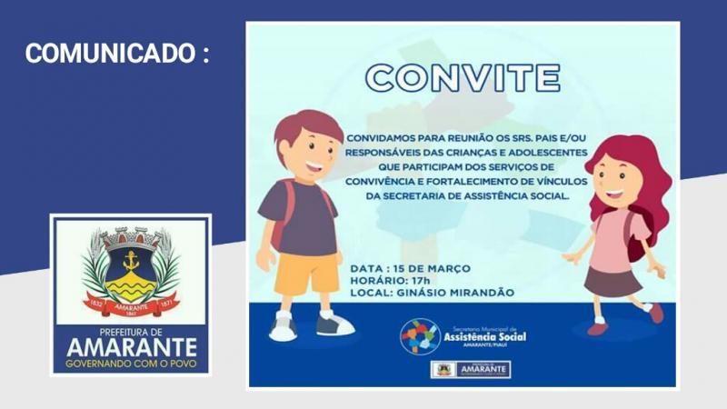 Comunicado da Secretaria Municipal de Assistência Social de Amarante