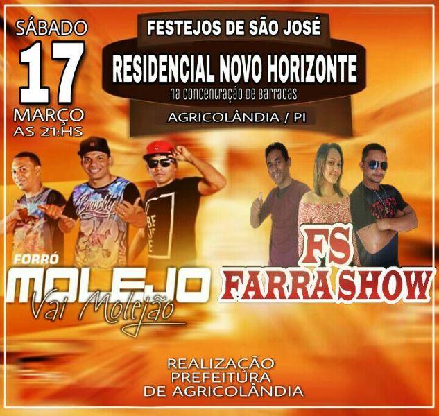 Grande show artístico acontece neste sábado nos festejos de São José em Agricolândia
