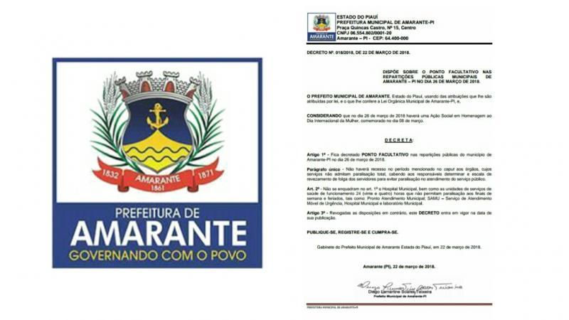 Prefeito Diego Teixeira decreta ponto facultativo no dia da grande homenagem às mulheres