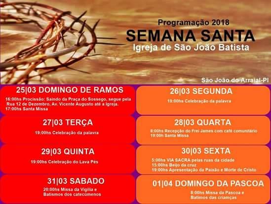 Confira a programação da Semana Santa em São João do Arraial