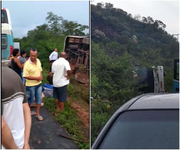 Ônibus da TransPiauí tomba e deixa passageiros feridos