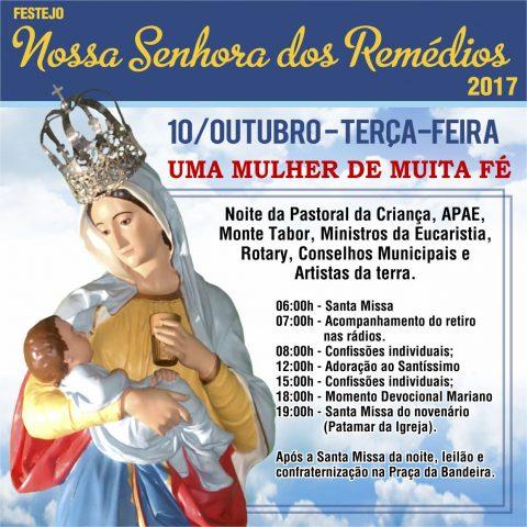 Programação de terça feira (10/10) do festejo de Nossa Senhora dos Remédios