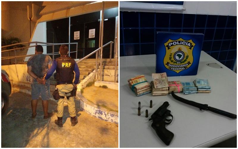 Acusado de homicídio é preso com revólver e R$ 25 mil