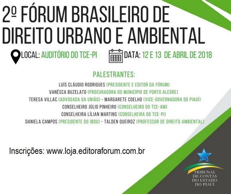 TCE-PI sediará 2º Fórum Brasileiro de Direito Urbano e Ambiental