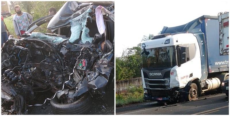 Choque frontal entre automóvel e carreta deixa 2 vítimas fatais na BR 316