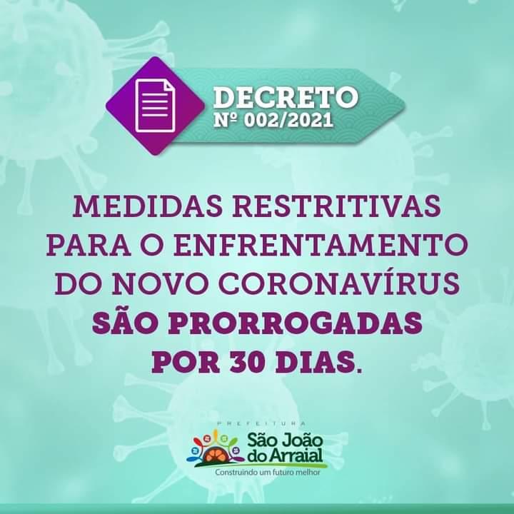 Decreto suspende shows e demais eventos em São João do Arraial por 30 dias
