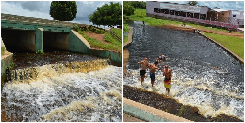 Fortes chuvas provocam a cheia do açude de Cabeceiras que transborda na Piscina Pública Municipal
