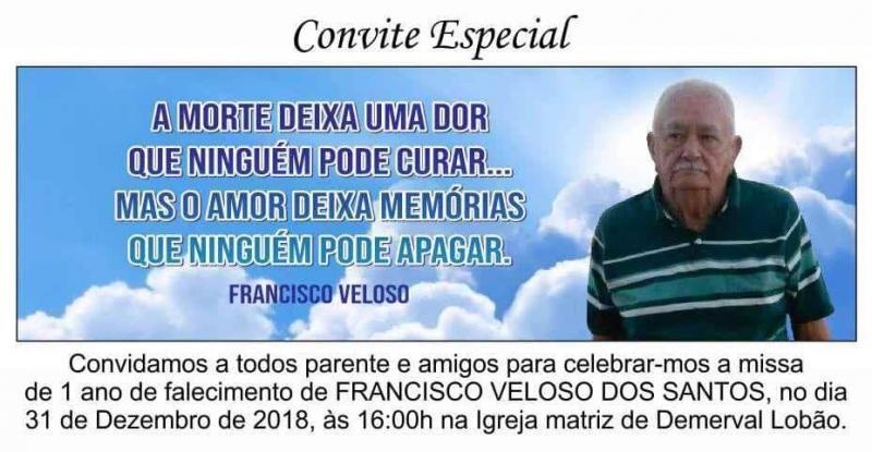 Missa de 1 ano do falecimento de Francisco Veloso dos Santos