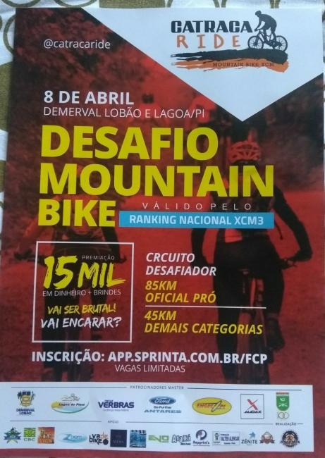 Domingo (08) em Demerval Lobão desafio catraca RIDE mountain bike, válido pelo ranking nacional XCM3