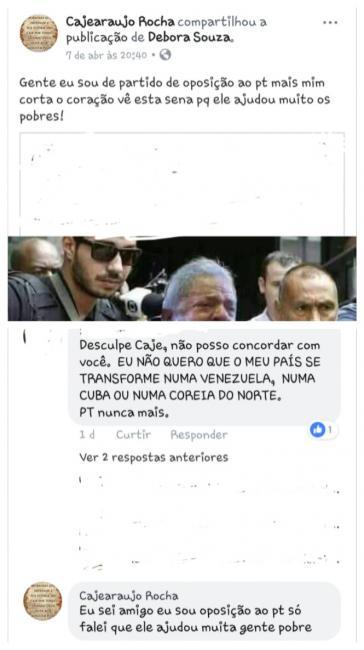 Vereador do PSDB surpreende ao lamentar a prisão de Lula, em uma rede social