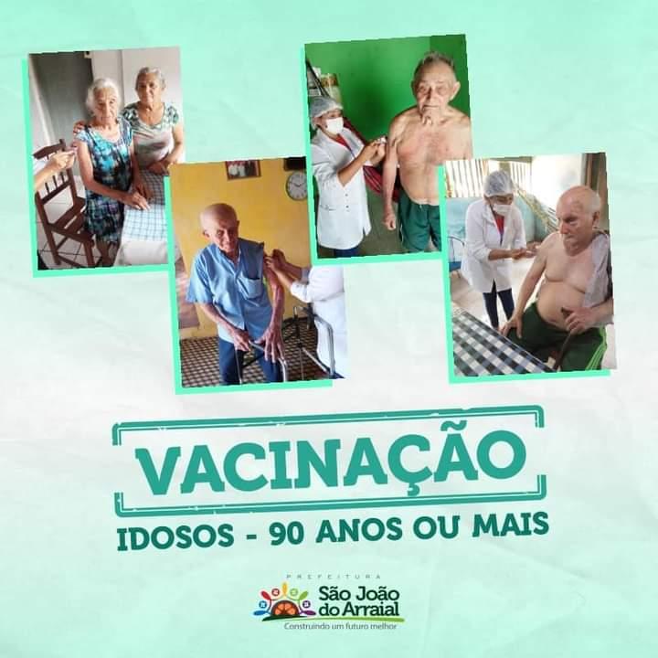São João do Arraial inicia vacinação de idosos acima de 90 anos