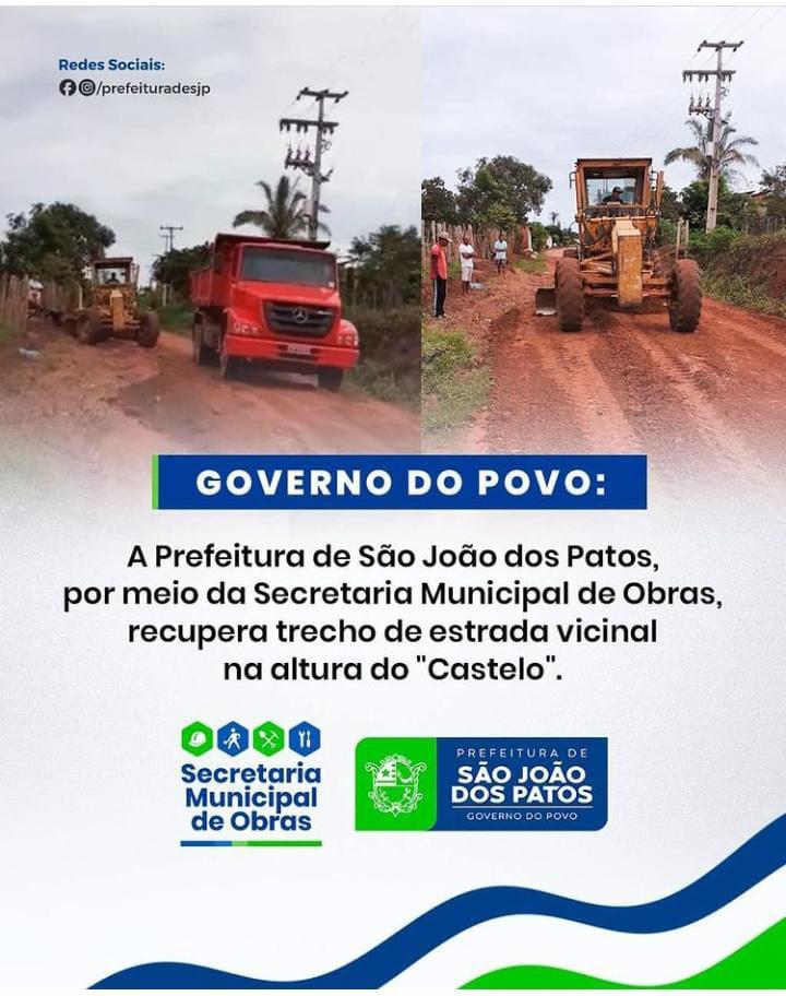 Secretaria municipal de obras recupera estrada que liga a zona rural