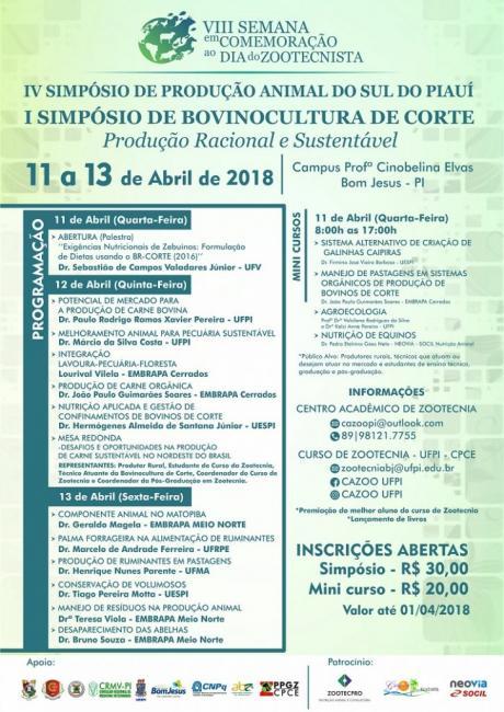 Começa nesta quarta IV Simpósio de Produção Animal do sul do Piauí
