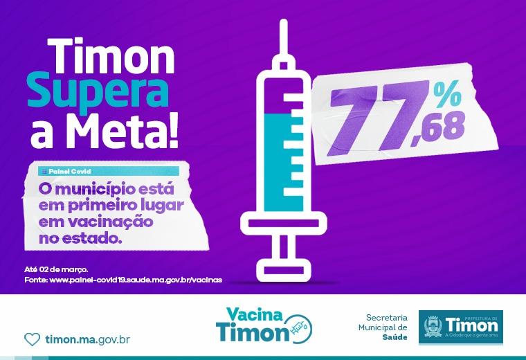 Timon supera a meta e alcança 1° lugar do MA na Vacinação contra Covid-19