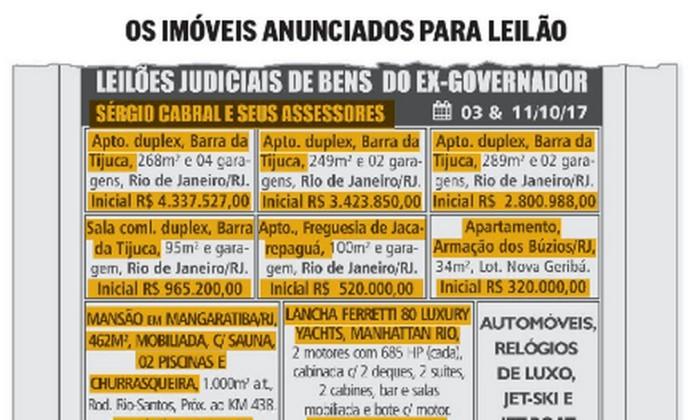 Bens do ex-governador Cabral que serão leiloados somam R$ 44 milhões