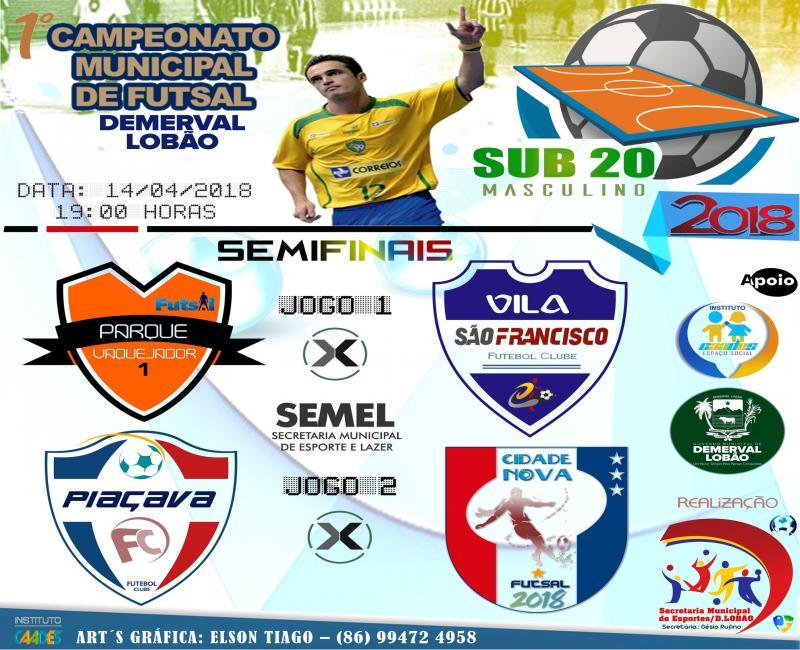 Hoje (14), em Demerval Lobão-PI, semifinal do campeonato municipal sub 20