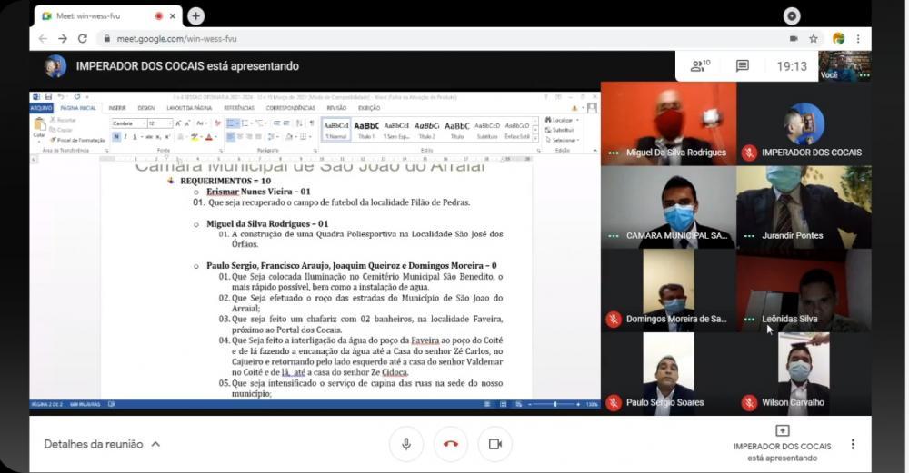 Câmara municipal de São João do Arraial realiza sessões online