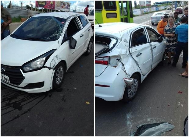 Motorista fica ferido em acidente no viaduto da avenida Miguel Rosa