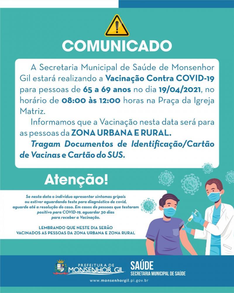 Vacinação em idosos de 65 a 69 anos começa na segunda (19) em Monsenhor Gil