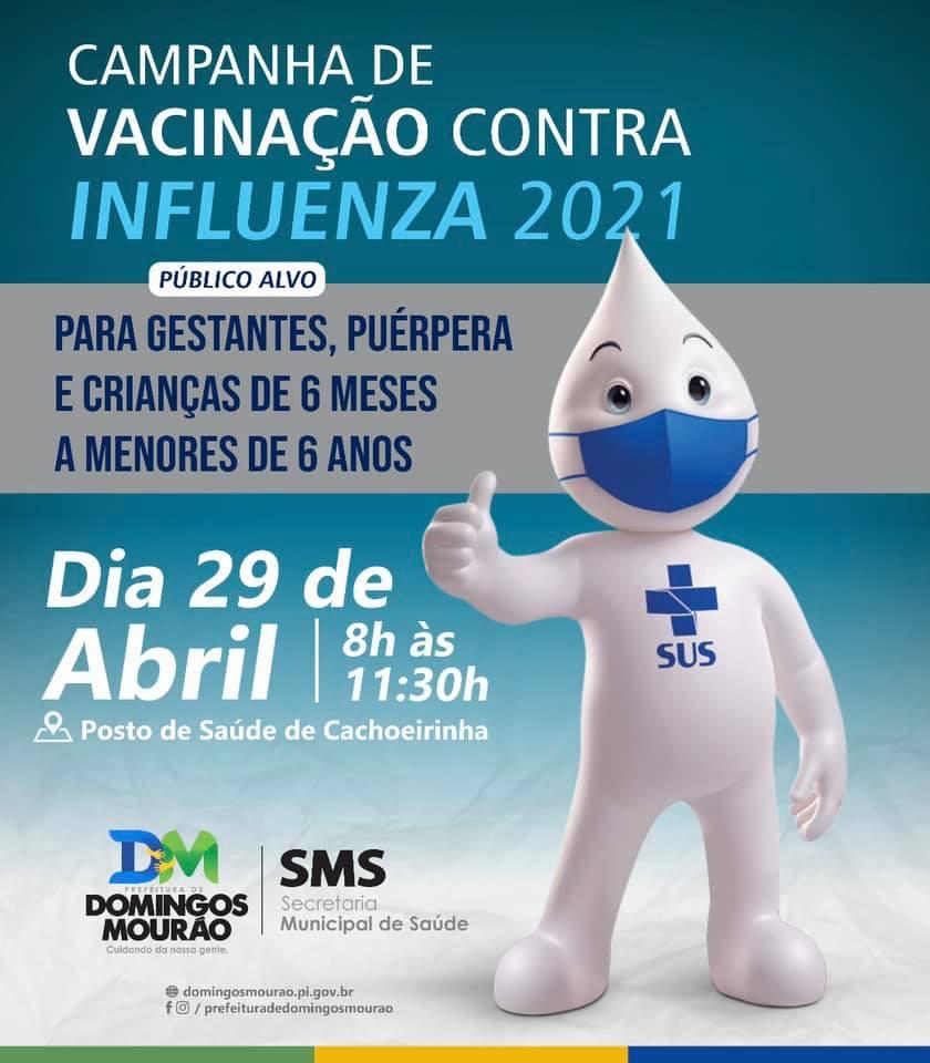 Domingos Mourão segue com vacinação contra a influenza nesta quinta (29)