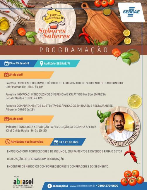 Fórum Gastronômico Sabores e Saberes inicia terça-feira em THE