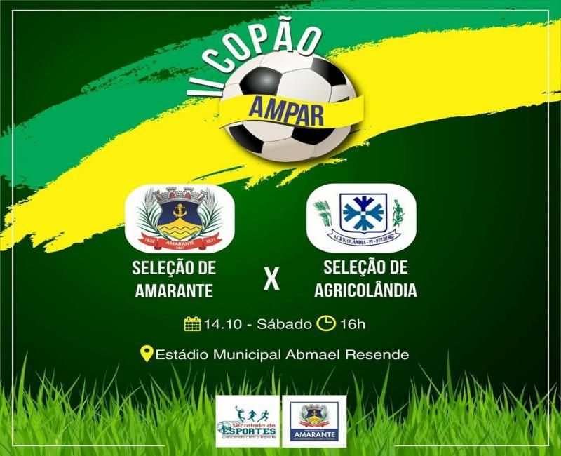 Seleção de Agricolândia enfrenta a de Amarante no sábado pela Copa Ampar