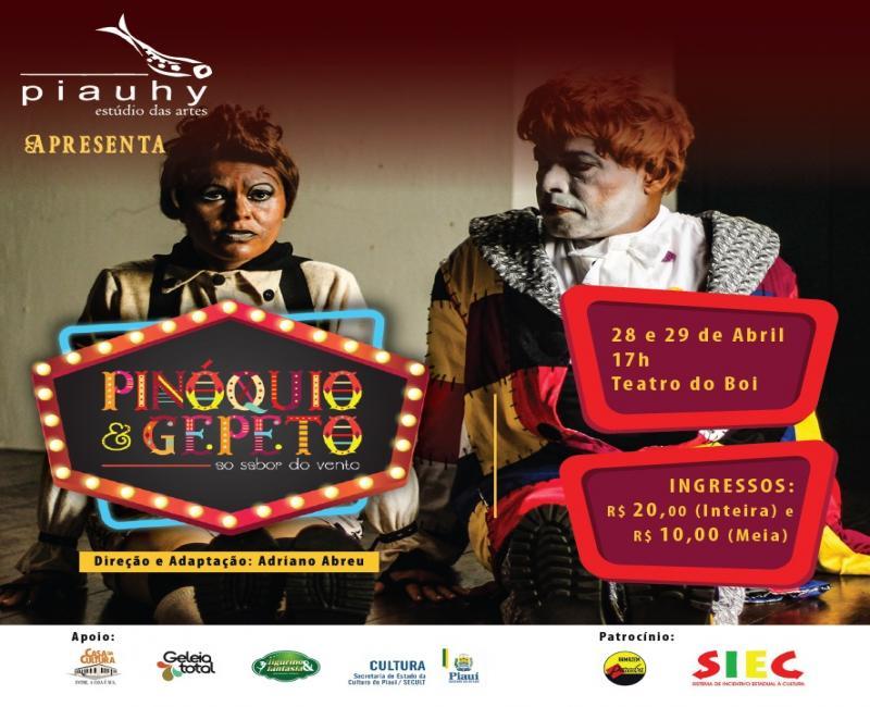 """Teatro Infantil: """"Pinóquio e Gepeto ao Sabor do Vento"""""""