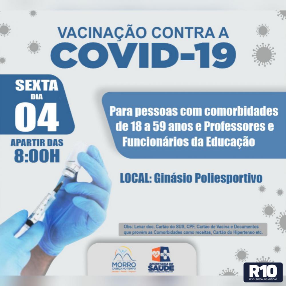 COVID 19 MCTPI: Servidores da Educação Aptos a Tomar a Vacina 04/06