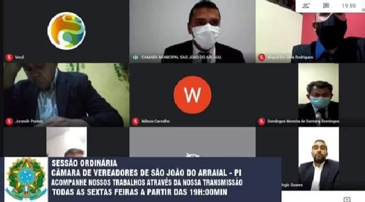 Câmara Municipal de São João do Arraial realizou sessão on-line