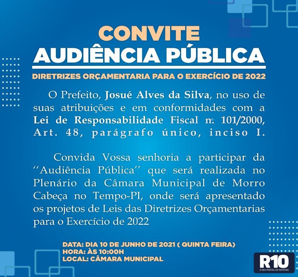 CONVOCAÇÃO AUDIÊNCIA PÚBLICA PROJETO DE LEI DE DIRETRIZES ORÇAMENTARIA