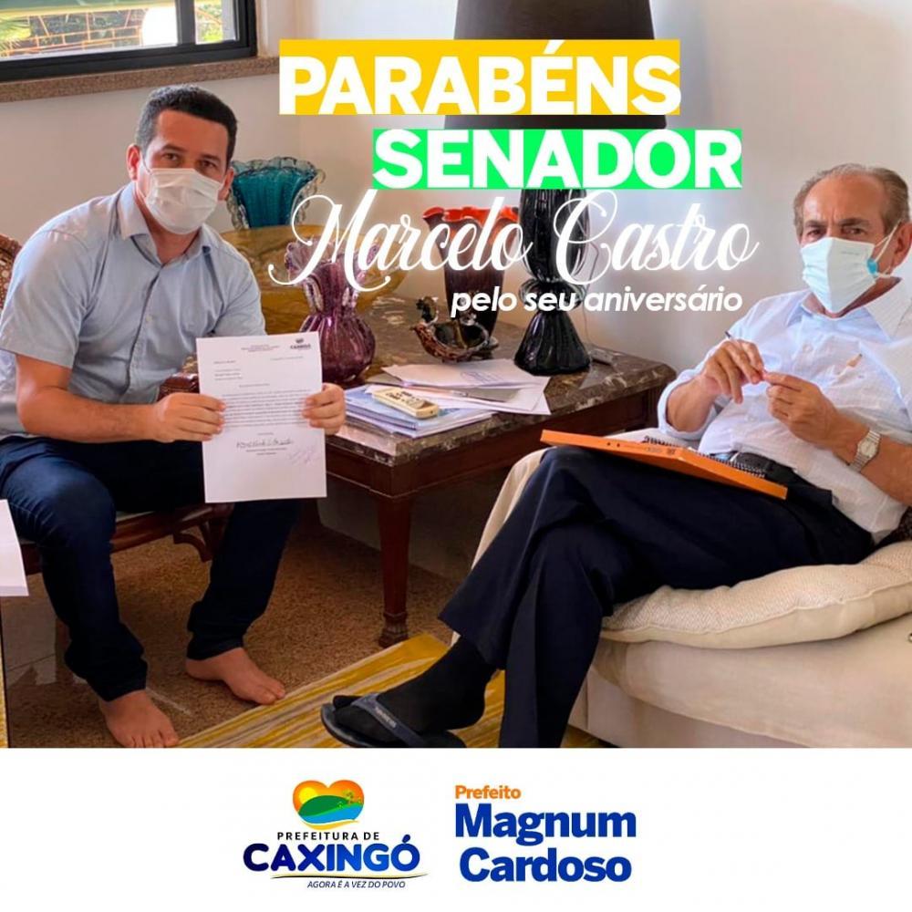 Prefeito do Magnum parabeniza senador Marcelo Castro pelo seu aniversário