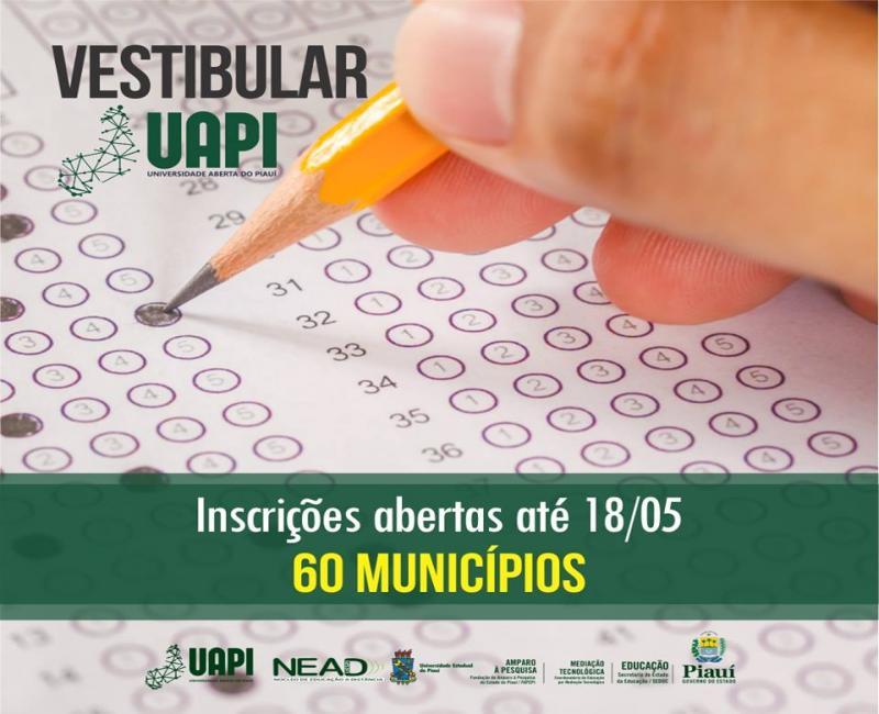 Inscrições abertas para o vestibular da Universidade Aberta do Piauí (UAPI)