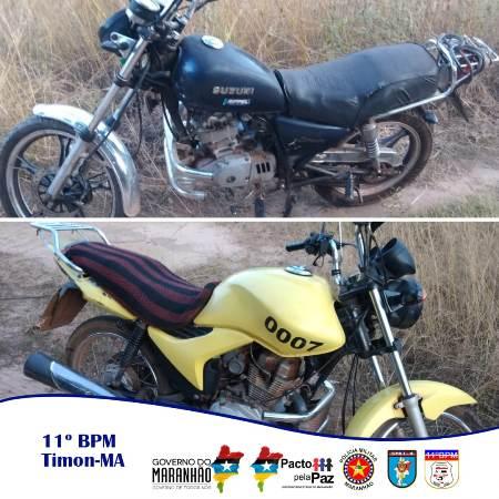 As duas motos recuperadas pela Rádio Patrulha do 11º BPM-MA na quarta-feira