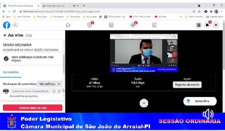 Veja como foi a sessão on-line da Câmara Municipal de São João do Arraial
