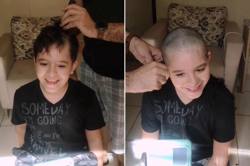 Menino raspa cabelo em apoio a amigo internado com câncer: 'Sempre iguais'