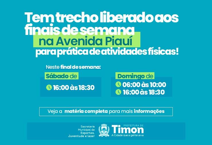 Começa neste fim de semana a interdição da Av. Piauí para atividade física