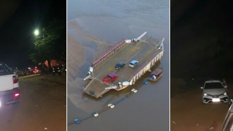 Seca do Rio Parnaíba encalha balsa Parnarama/MA e gera grandes filas de veículos na travessia