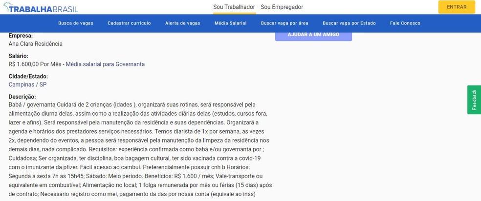 Foto: Reprodução/Trabalha Brasil
