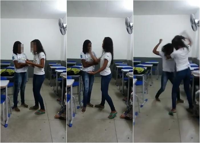 Alunas trocam tapas e ponta pés dentro de sala de aula em Campo Maior