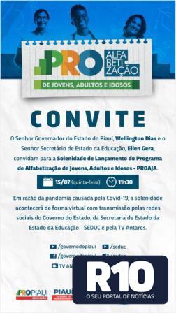 SEDUC/PI; Lançamento do programa de alfabetização PROAJA