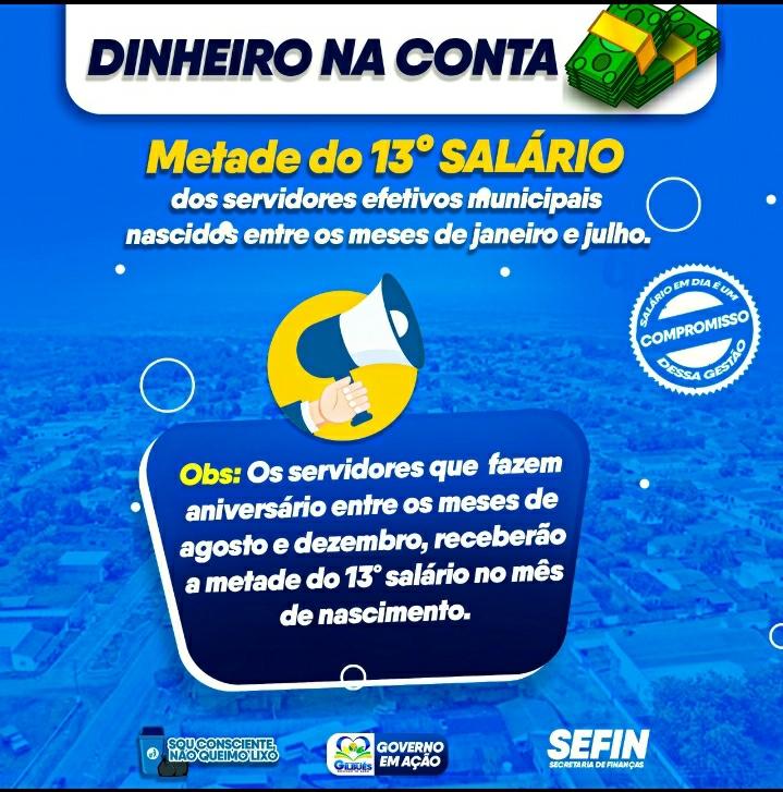 AMILTINHO ANTECIPA METADE DO 13° SALÁRIO PARA OS SERVIDORES EFETIVOS
