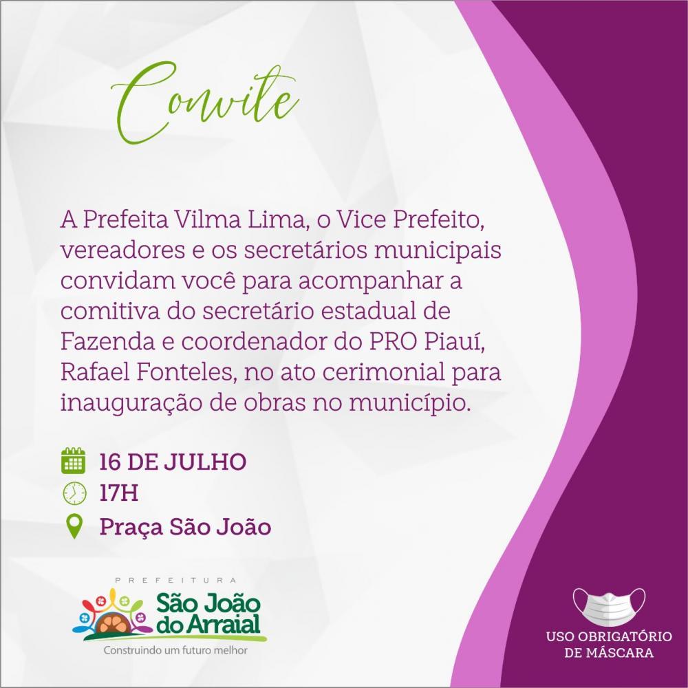 Confira a agenda de Rafael Fonteles em São João do Arraial nesta sexta (16)